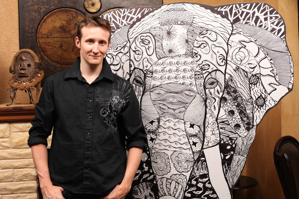 M.W. Greer with the finished Elephant